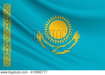 Flag Of Kazakhstan Fabric Texture Of The Flag Of Kazakhstan.