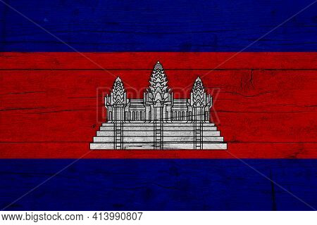 Flag Of Cambodia Wooden Texture Of The Flag Of Cambodia.