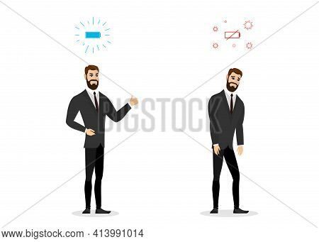 Happy And Sad Boring Businessman Comparison. Business Man Professional Burnout Syndrome. Exhausted S