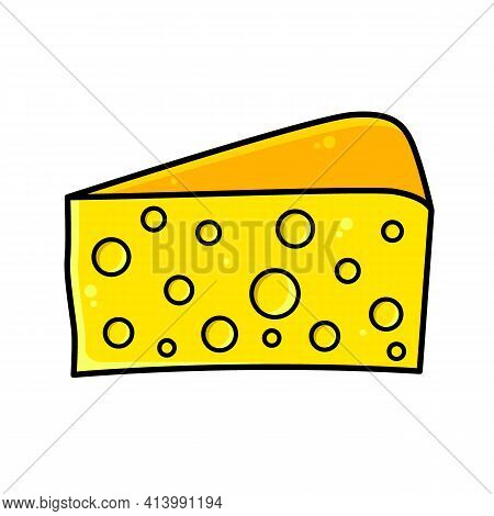 Piece Of Cheese. Big Beautiful Triangle Piece Of Hard Cheese For Recipes.