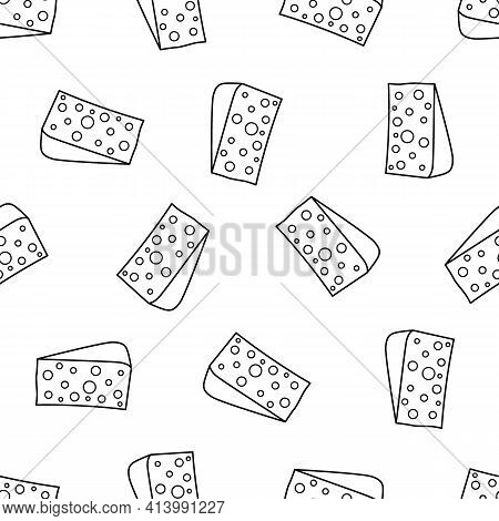 Piece Of Cheese Line Seamless Pattern. Big Beautiful Triangle Piece Of Hard Cheese For Recipes.