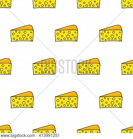 Piece Of Cheese Seamless Pattern. Big Beautiful Triangle Piece Of Hard Cheese For Recipes.