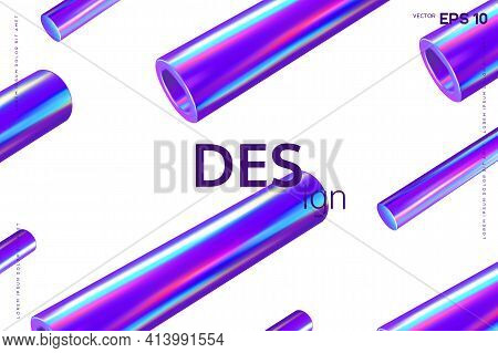 3d Render Primitives Abstract Background. Realistic 3d Sphere, Torus, Cone, Cube, Tube. Glossy Holog