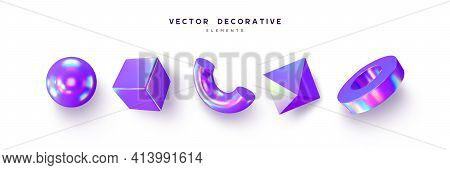 Set Of 3d Render Primitives. Realistic 3d Sphere, Torus, Cone, Cube, Tube. Glossy Holographic Geomet