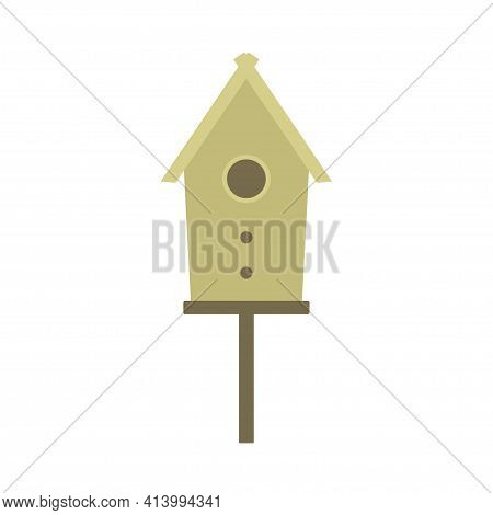 Wooden Birdhouse, Place For Nest In Cartoon Flat Style, Nesting Boxe Isolated On White Background, S