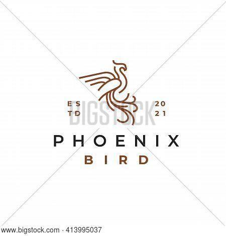 Line Art Phoenix Logo Design Vector Template