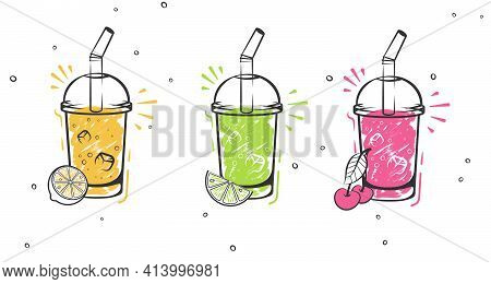 Sketch Smoothie. Healthy Superfood, Glass Of Fruit And Berries Smoothies And Slised Natural Fruits H