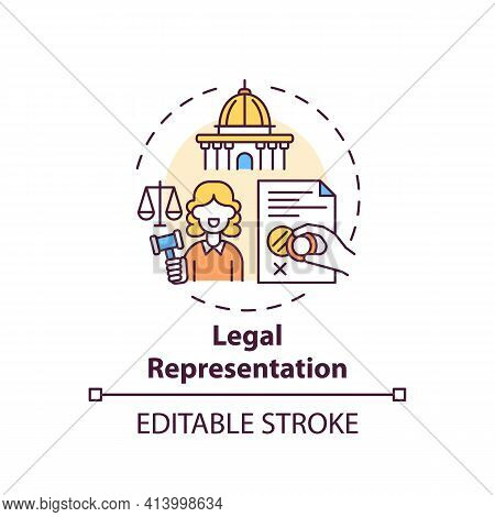 Legal Representation Concept Icon. Legal Services Categories. Represents Clients In Judicial And Adm