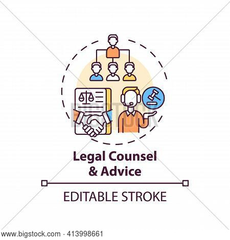 Legal Counsel And Advice Concept Icon. Legal Services Categories. Provides Timely Legal Counsel And