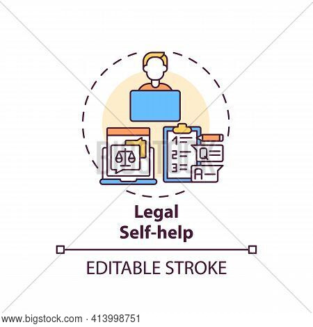 Legal Self Help Concept Icon. Legal Services Categories. Develops And Distributes Legal Self Help Ma