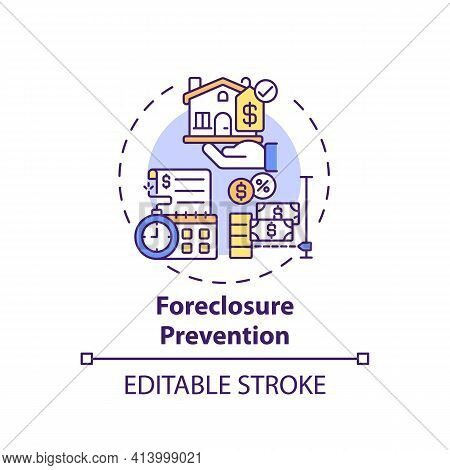 Foreclosure Prevention Concept Icon. Legal Services Types. Help Homeowners Who Are In Danger Of Fore