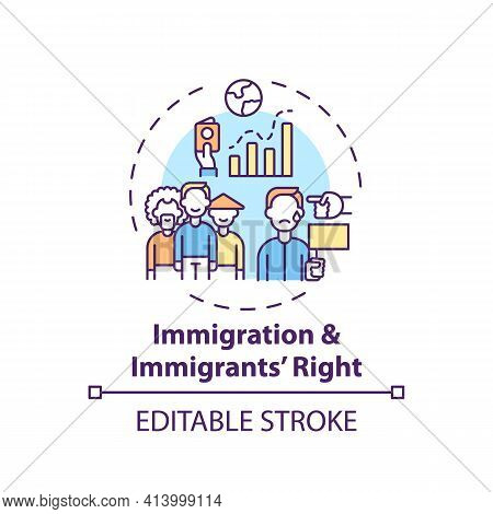 Immigration And Immigrants Right Concept Icon. Legal Services Types. Law System That Protects People
