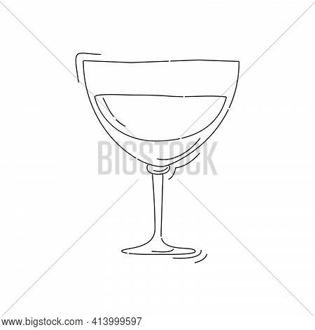 Vermouth Wineglass On White Background. Cartoon Sketch Graphic Design. Doodle Style. Black And White