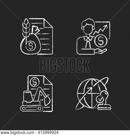 Intermediary Services Chalk White Icons Set On Black Background. Commodity Broker. Sponsorship, Stoc