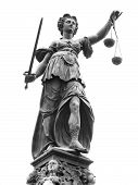 Statue of Lady Justice (Justitia) in Frankfurt Germany. Isolated on white. poster
