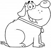 Outlined Happy Fat Dog Cartoon Mascot Character poster
