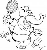 Black and white illustration of an elephant playing tennis. poster