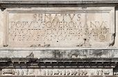 Main inscription in the Arch of Titus. Rome, Italy poster