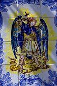 ceramics design of san miguel and the dragon in the centre of colonia del sacramento uruguay poster