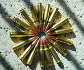 308 Rifle ammunition laid out in a circle poster