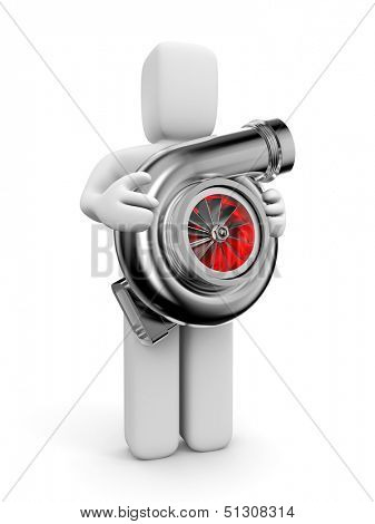 Person with Turbocharger. Turbine for auto
