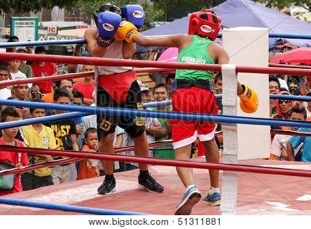 Amateur boxer hit by left punch