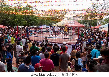 Amateur boxing in a park