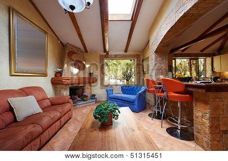 Innenarchitektur: Wohnzimmer und Küche