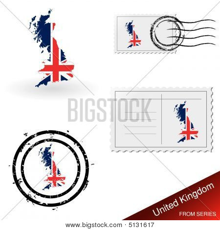 Uk Map And Stamp Set