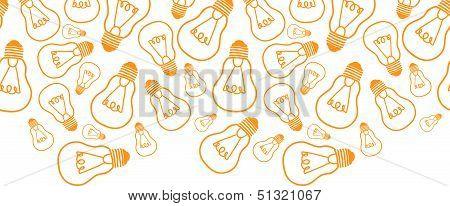 Light bulbs line art horizontal seamless pattern background border