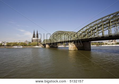 Cologne Cathedral, River Rhine And Hohenzollern Bridge