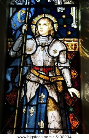 Stained glass in St Mary of the Wellington New Zealand. Roman Catholic church. Famous national heroine of France: saint Joan of Arc. poster