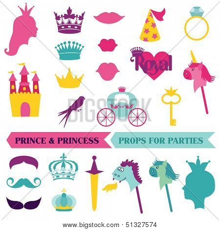 Prince and Princess Party set - photobooth props - crown, mustaches, masks - in vector
