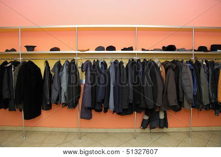 Many Clothes In Cloakroom