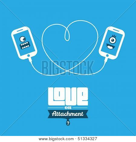 Love or Attachment? Smart phone icon characters.