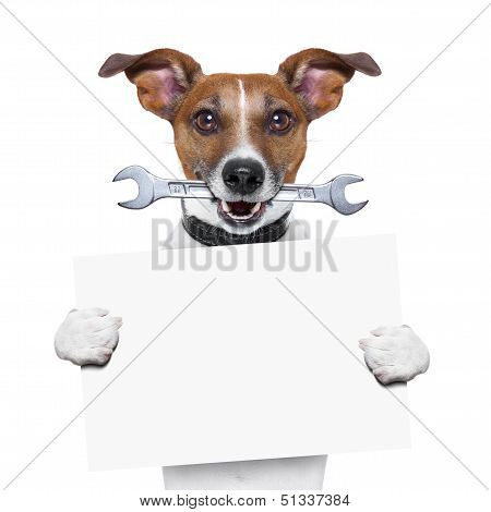 craftsman dog with spanner wrench in mouth holding a blank banner poster