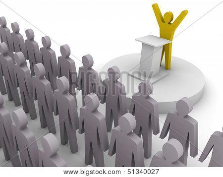 Leader speaking to crowd. Concept 3D illustration.