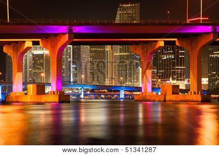 Macarthur Causeway Bridge At Night