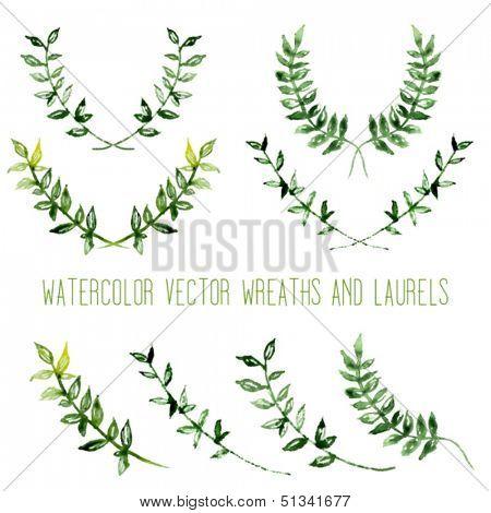 Watercolor vintage floral trendy set of wreaths and laurels
