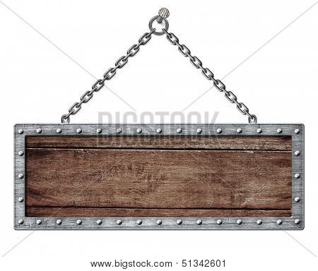 medieval signboard or shield hanging on chain isolated on white