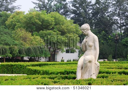 Lady Nude Stone Sculpture In The Stone Door Park, Shijiazhuang, China