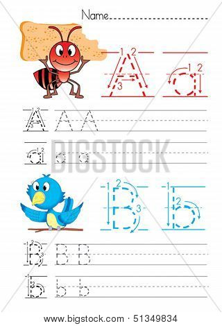 Practise alphabet handwriting letters A B on white paperworksheet poster