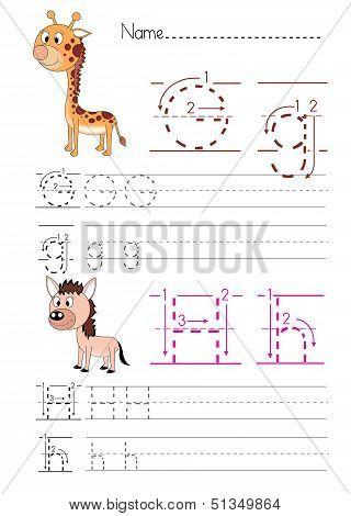 Alphabet handwriting G H