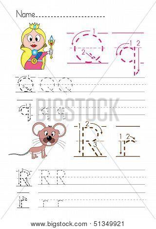 Alphabet handwriting Q R