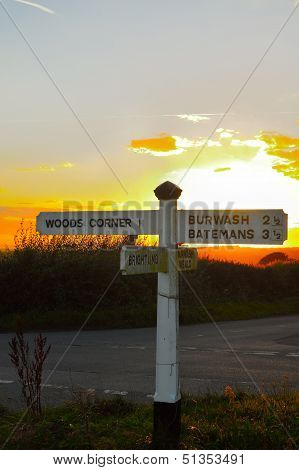 Fingerpost at the crossroads near Brightling