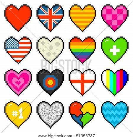 8-bit Assorted Pixel Hearts