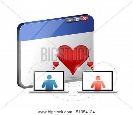 Love Concept. Internet Dating Illustration Design