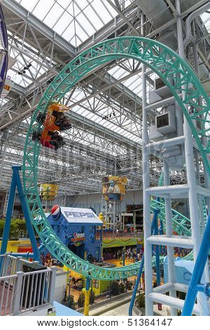 A Single Roller Coaster Car Races Around At The Mall Of America In Bloomington, Mn On July 06, 2013