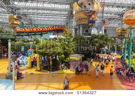 A Roller Coaster Zips Overhead At The Mall Of America In Bloomington, Mn On July 06, 2013