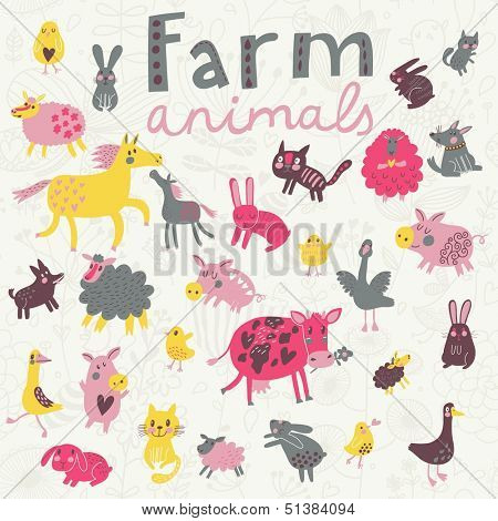 Funny farm animals in vector set. Sheep, horse, dog, cat, rabbit, goose, chicken and others in cute childish style